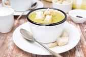 Croutons baharatlı kabak çorbası — Stok fotoğraf
