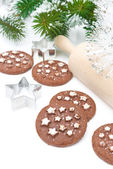 Christmas chocolate cookies on a white background — Стоковое фото