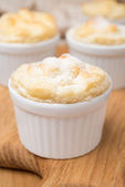 Peach souffle in the portioned form, close-up, selective focus — Stock Photo