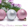 Colored Christmas balls on a white background — Stock Photo