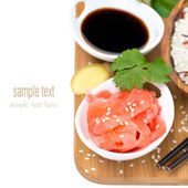 Asian food ingredients (ginger, soy sauce, rice), isolated — Stock Photo