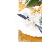 Christmas table place setting, isolated on white — Stock Photo