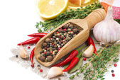 Spices - fresh and dried peppers, garlic, thyme and lemon — Stock Photo