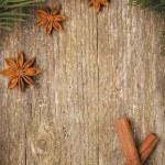 Christmas frame (fir branches, stars, star anise and cinnamon) — Stock Photo #34152329