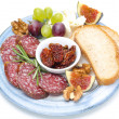 Plate of snacks - sausage, bread, figs, grapes, nuts  — Stock Photo