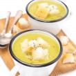 Stock Photo: Zucchini soup with croutons, isolated