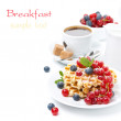 Breakfast with Belgian waffles, berry and freshly brewed coffee — Stock Photo