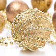 Composition with different golden Christmas balls — Stock Photo