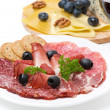 Assorted deli meats, plate of cheese and glass of wine closeup — Stock Photo