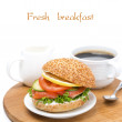 Breakfast - burger with smoked salmon, vegetables  — Stock Photo