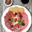 Stock Photo: Assorted deli meats and glass of wine, top view