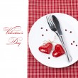 Festive table setting for Valentine's Day with fork, knife — Stock Photo
