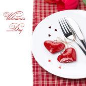 分離したバレンタインの日のお祝いテーブル設定 — ストック写真