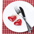 Table setting for Valentine's Day with fork, knife and heart — Stock Photo