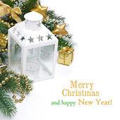 Vánoční složení s lucernou, jedle větve — Stock fotografie