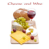 Three kinds of cheese, bread, grapes and wine, isolated — Stock Photo