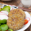 Vegetarian burgers made from lentils and buckwheat, close-up — Stock Photo #36356909