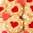 Assorted cookies and fruit jelly for Valentine's Day, vertical — Stock Photo