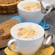 Stock Photo: Cream soup of cauliflower with cheese in a cups
