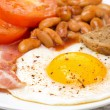 English breakfast with fried eggs, bacon and beans — Stock Photo