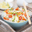 Thai salad with vegetables, rice noodles and chicken  — Стоковая фотография