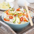 Thai salad with vegetables, rice noodles and chicken  — ストック写真