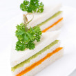 Colorful sandwich with vegetable puree — Stock Photo