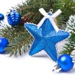 Christmas card - star, blue balls, fir branches, isolated — Stock Photo