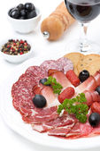 Assorted meat delicacies on a plate and a glass of wine — Foto de Stock