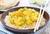 Karí s květáku a rýže — Stock fotografie