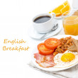 Traditional English breakfast with fried eggs, bacon, beans — ストック写真