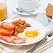 Traditional English breakfast, coffee and juice — Stock Photo