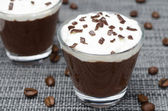 Coffee and chocolate mousse with whipped cream, horizontal — Stock Photo