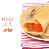 Crepes with red caviar, isolated — Stock Photo