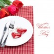 Festive table setting for Valentine's Day with tulips, isolated — Stock Photo
