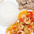 Chinese food - rice, chicken and vegetables with shrimp, closeup — Stock Photo