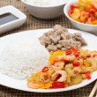 Chinese food - white rice, chicken and vegetables with shrimp — Stock Photo