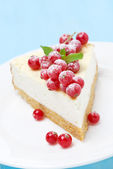 Cheesecake with red currants — Stock Photo