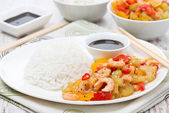 Chinese food - rice and vegetables with shrimp — Stock Photo