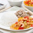 Chinese food - rice, chicken and vegetables with shrimp — Stock Photo