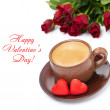 Coffee, candies and red roses for Valentine's Day, top view — Stock Photo