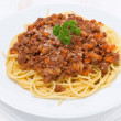 Portion of spaghetti bolognese, top view — Stock Photo #37861853