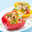 Stuffed peppers with salad of rice and shrimp — Stock Photo