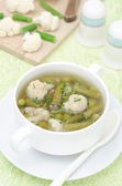Vegetable soup with cauliflower and green beans vertical — Stock Photo