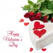 Stock Photo: Wooden box with red hearts and roses for Valentine's Day, isolat