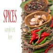 Chili, garlic and dried peppers, isolated — Stock Photo