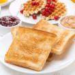 Continental breakfast - toast, jam, peanut butter, juice — Stock Photo #38299949