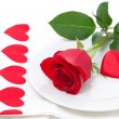 Festive table setting with rose and heart — Stock Photo