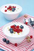 Fresh sweet yogurt with berries — Stock Photo