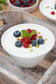 Natural yogurt with fresh berries and mint — Stock Photo